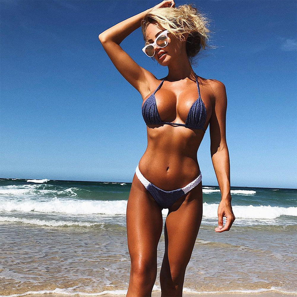 2018 Solid Color Bikini Swimsuit Two-Piece Suit