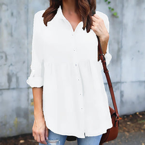 Solid Color Loose Long-Sleeved Chiffon Shirt