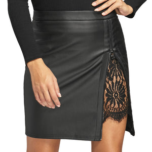 Solid Color Lace Leather Skirt