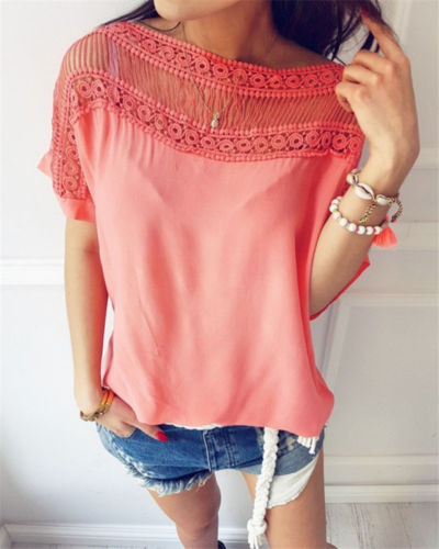 Fashion Short Sleeve Sexy Lace Shirt
