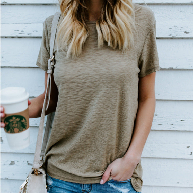 Fashion Solid Color Short-Sleeved T-Shirt