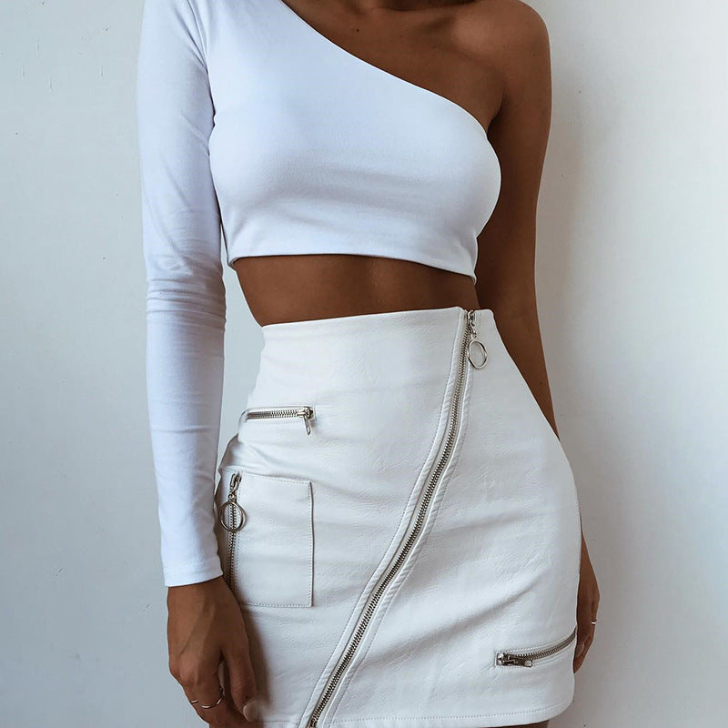 Sexy Zipper Bag Hip Skirt