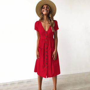 2018 Women'S V-Neck Button Pocket Short-Sleeved Dress