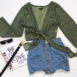 V-Neck Lace Five-Pointed Star Top