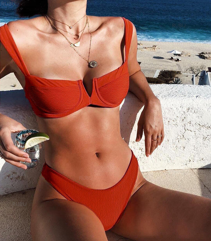 Solid Color Swimsuit Bikinis Set