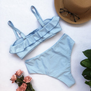 Solid Color Ruffled High Waist Split Bikini Swimsuit