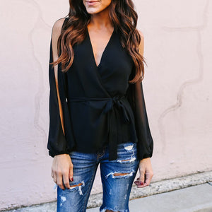 Solid Color V-Neck Slim Off-The-Shoulder Long-Sleeved Chiffon Shirt