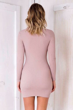 Slim Long-Sleeved Hip Dress