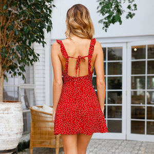 Sexy High Waist V-Neck Print Ruffled Strap Dress