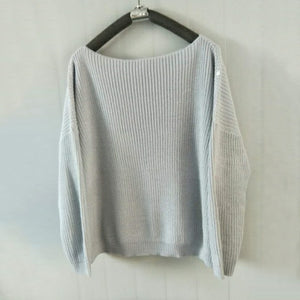 Solid Color Knit Long Sleeve Off-The-Shoulder Sweater