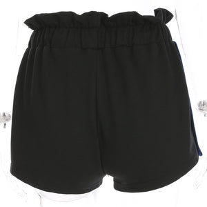 Side Button Black Patchwork Shorts