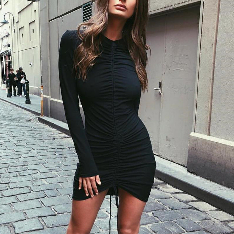 Women's Fashion Slim V-neck Long Sleeve Dress