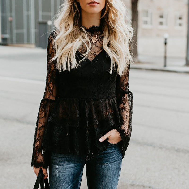 Round Neck Solid Color Lace Zipper Long Sleeve Top