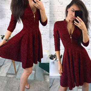 Women Sexy Zipper Dress