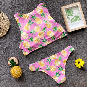 Sexy Pineapple Print Bikini Zipper Swimsuit