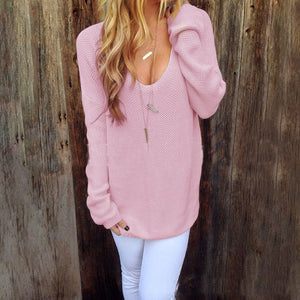 Round Neck Long Sleeve Solid Color Knit Sweater