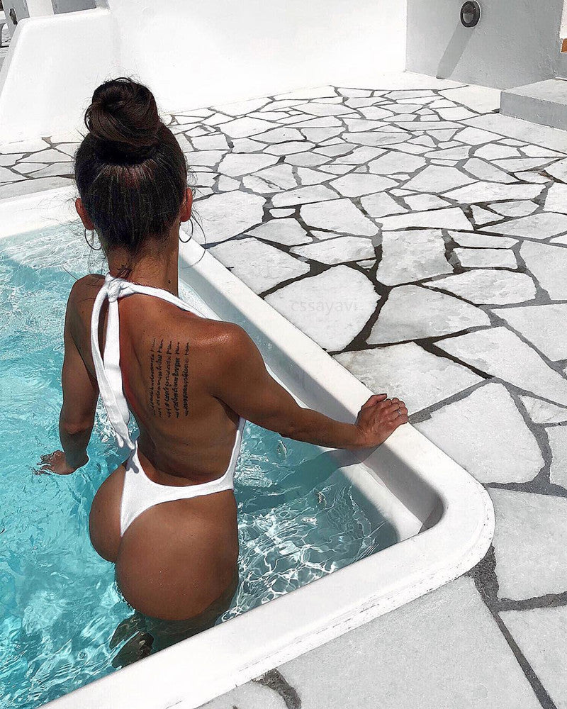 Sexy Solid Color Halter Bikini One-Piece Swimsuit