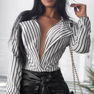 V-Neck Striped Long Sleeve Shirt