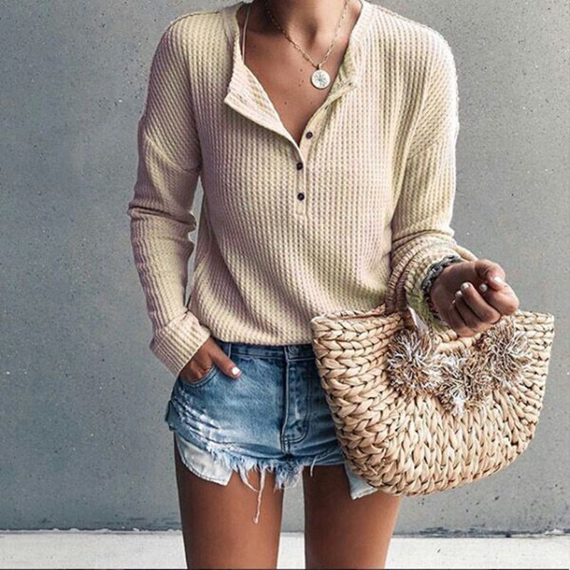 Solid Color Round Neck Long-Sleeved T-Shirt