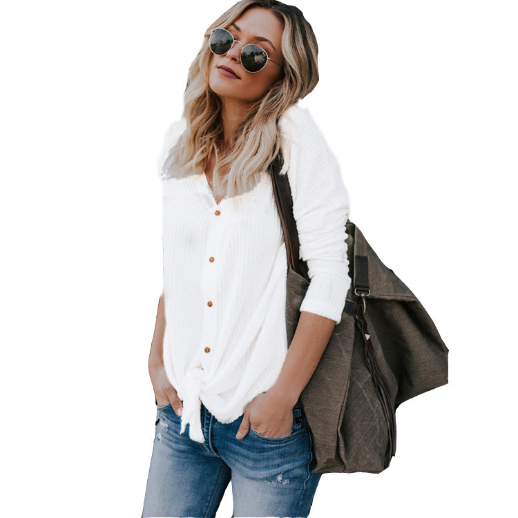 Women's Long Sleeve V-neck Cardigan T-Shirt