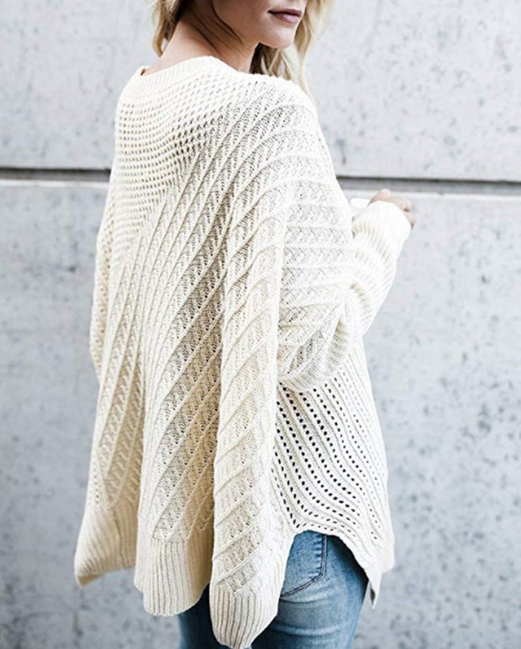 Fashion Zipper Bat Sleeves Off-The-Shoulder Knit Sweater