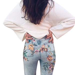 High Waist Embroidered Denim Trousers