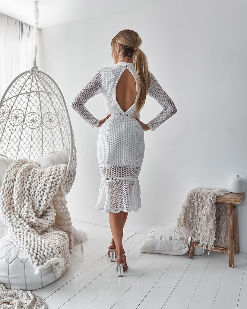 Sexy Lace Long Sleeve Bag Hip Dress
