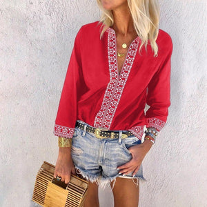 Solid Color Long Sleeve Printed Shirt