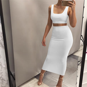 Sexy Sleeveless Vest Two-Piece Set Dress