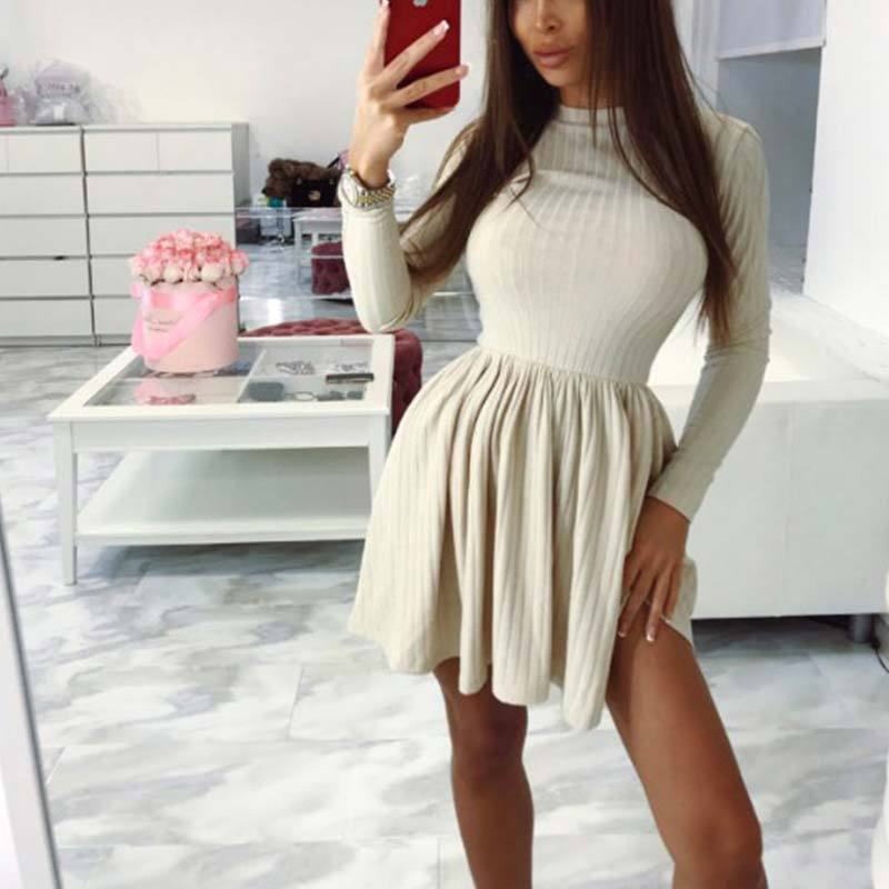 Round Neck Long Sleeve Slim Dress