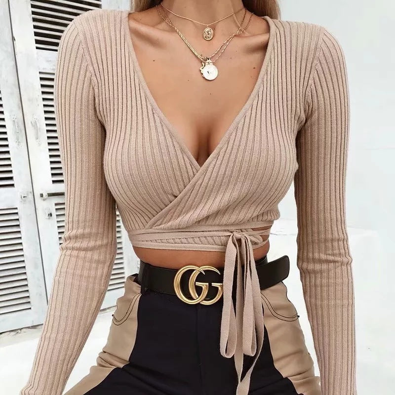 Sexy V-Neck Knit T-Shirt