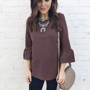Fashion Round Neck Chiffon Top