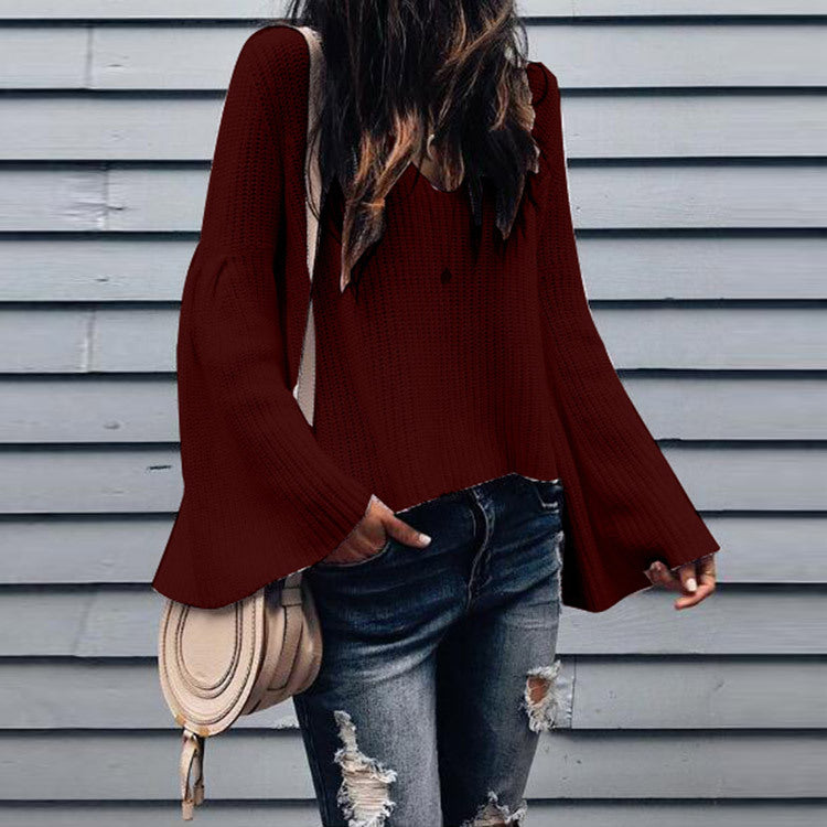 Fashion Solid Color Sexy V-neck Loose Long Sleeve Sweater
