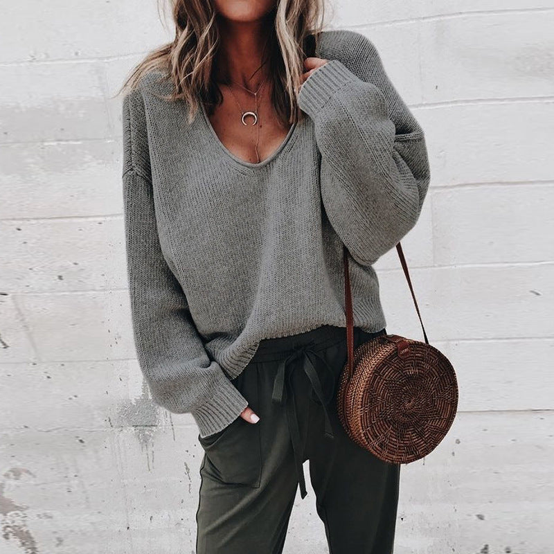 Loose Long Sleeved V-Neck Knit Sweater