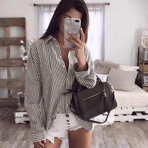 Striped Long Sleeve Cardigan Shirt