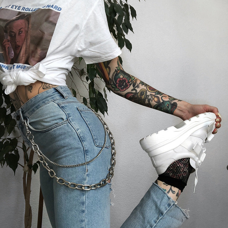 Fashion Women'S Iron Chain Cowboy Pants