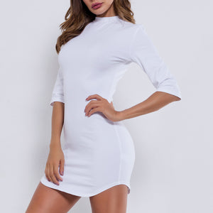 Round Neck High Waist Package Hip Dress