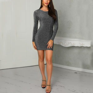 Tight Backless Package Hip Long-Sleeved Dress