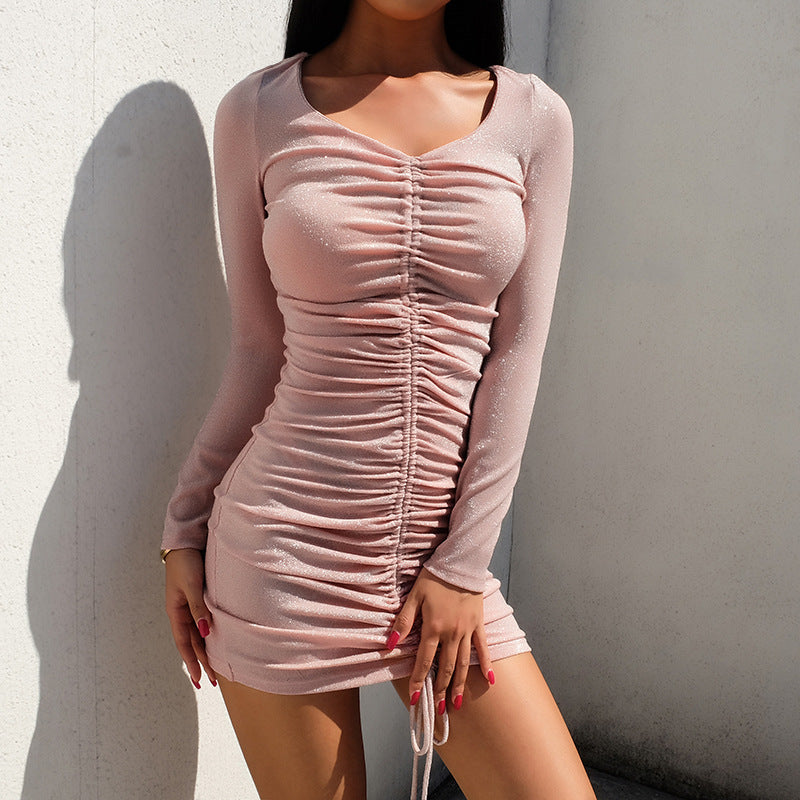 Fashion Sexy Slim Bag Hip Long Sleeve Dress