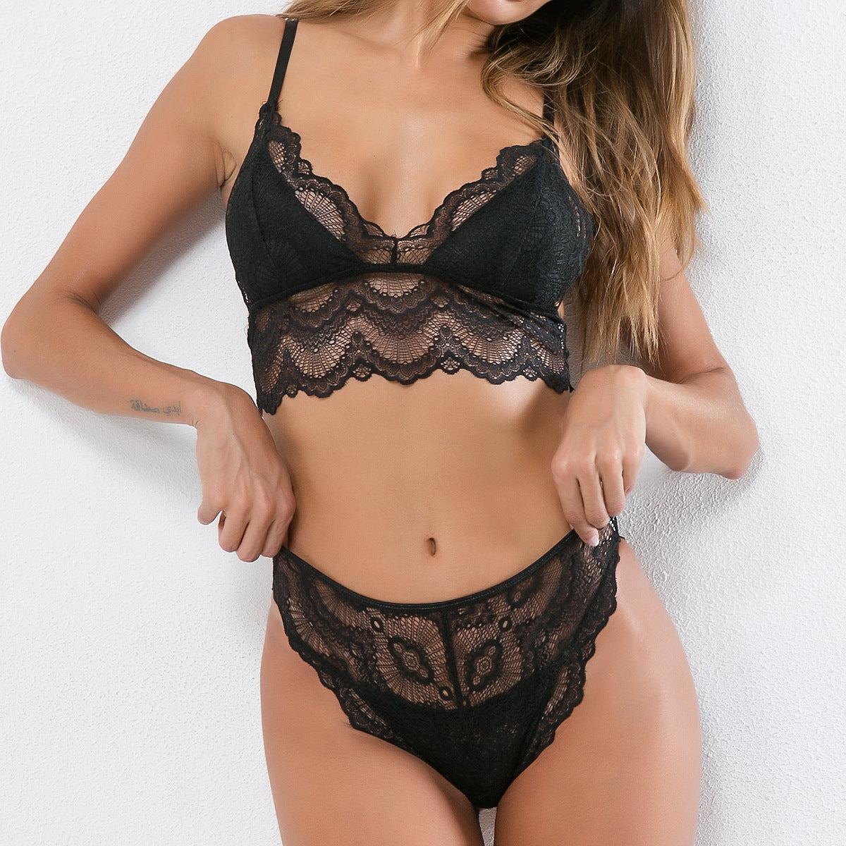 Women's Lace V-neck Sling Sexy Set