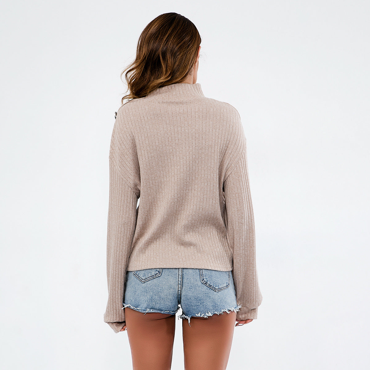 Solid Color High-Necked Sweater