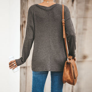 Women'S Solid Color Casual Knit Top