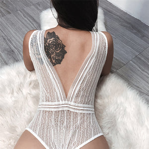 Women'S Sleeveless V-Neck Halter Sexy Solid Color Lace Jumpsuit