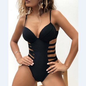 Solid Cut Out One Piece Swimsuit