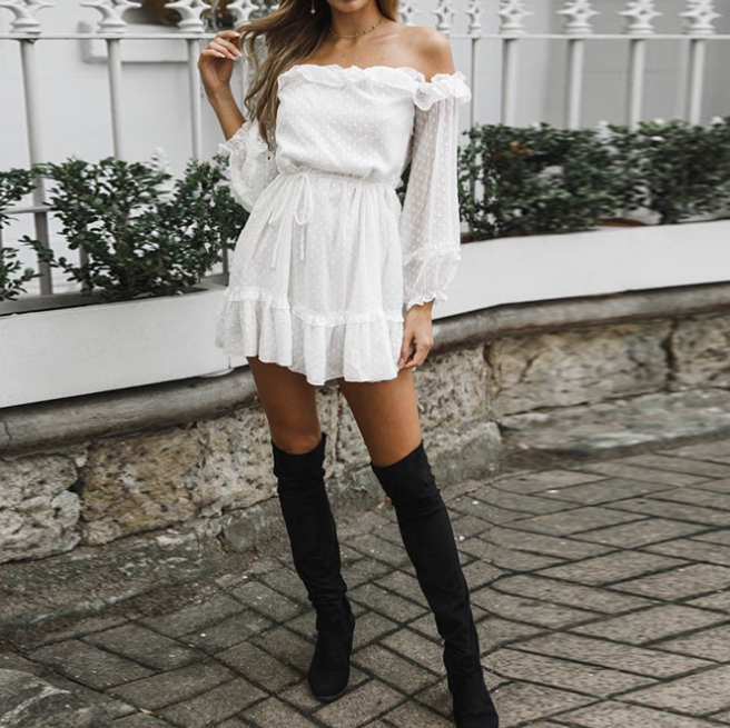 Chiffon High Waist Long Sleeve Dress