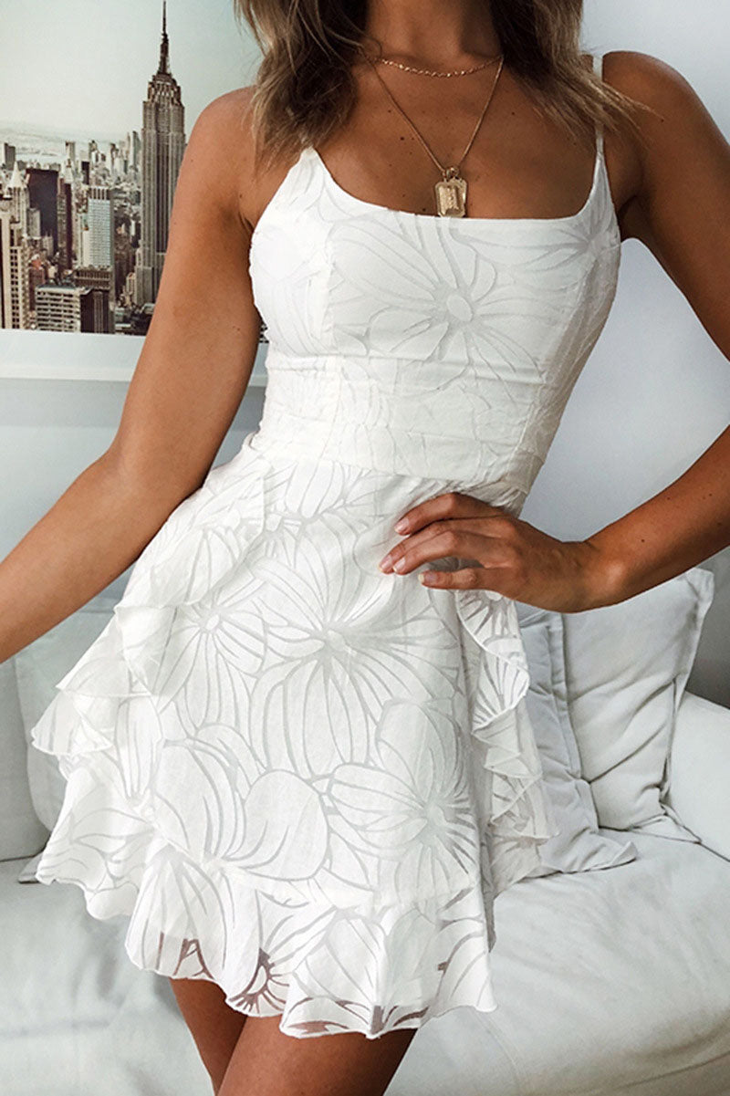 Fashion Printed Ruffled Dress