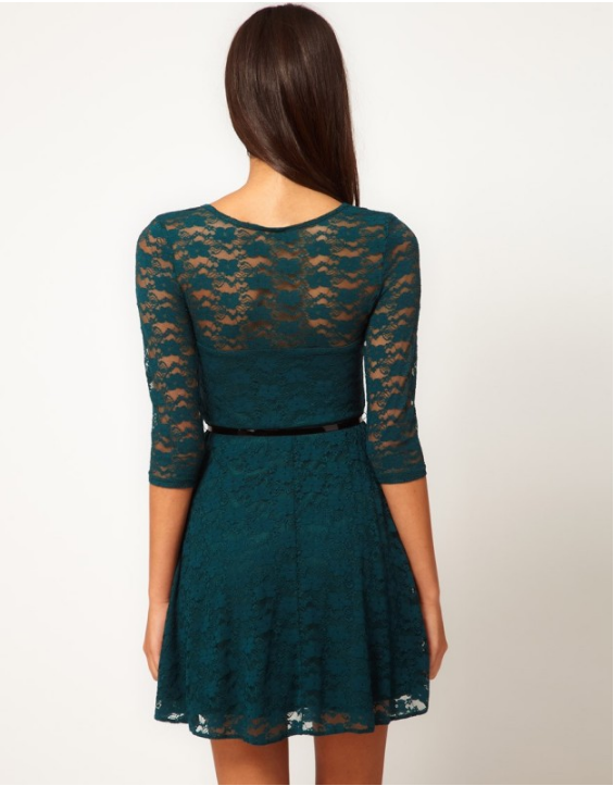 Slim Round Neck Big Yards Lace Dress