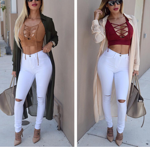 Fashion Hole Exposed Knee Jeans