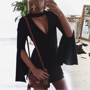 Black V-Neck Slim Sexy Long-Sleeved Dress