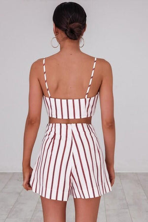 Sexy Sleeveless Stripe Vest Two-Piece Set